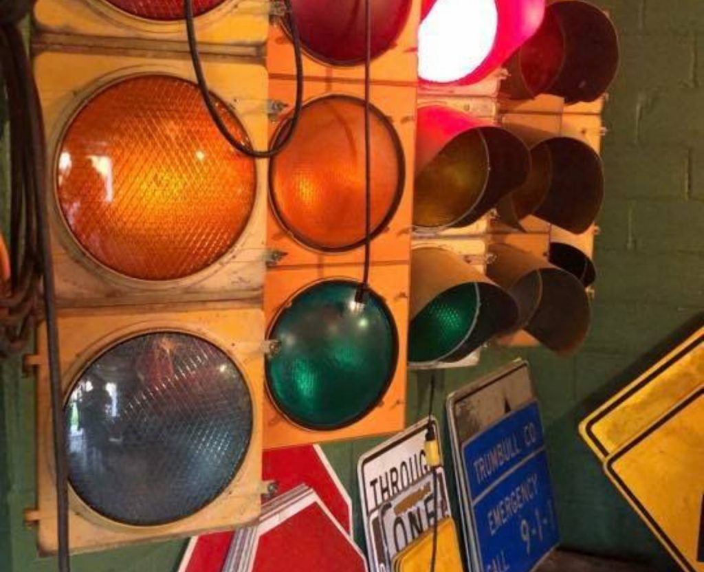 Five different auction traffic lights.