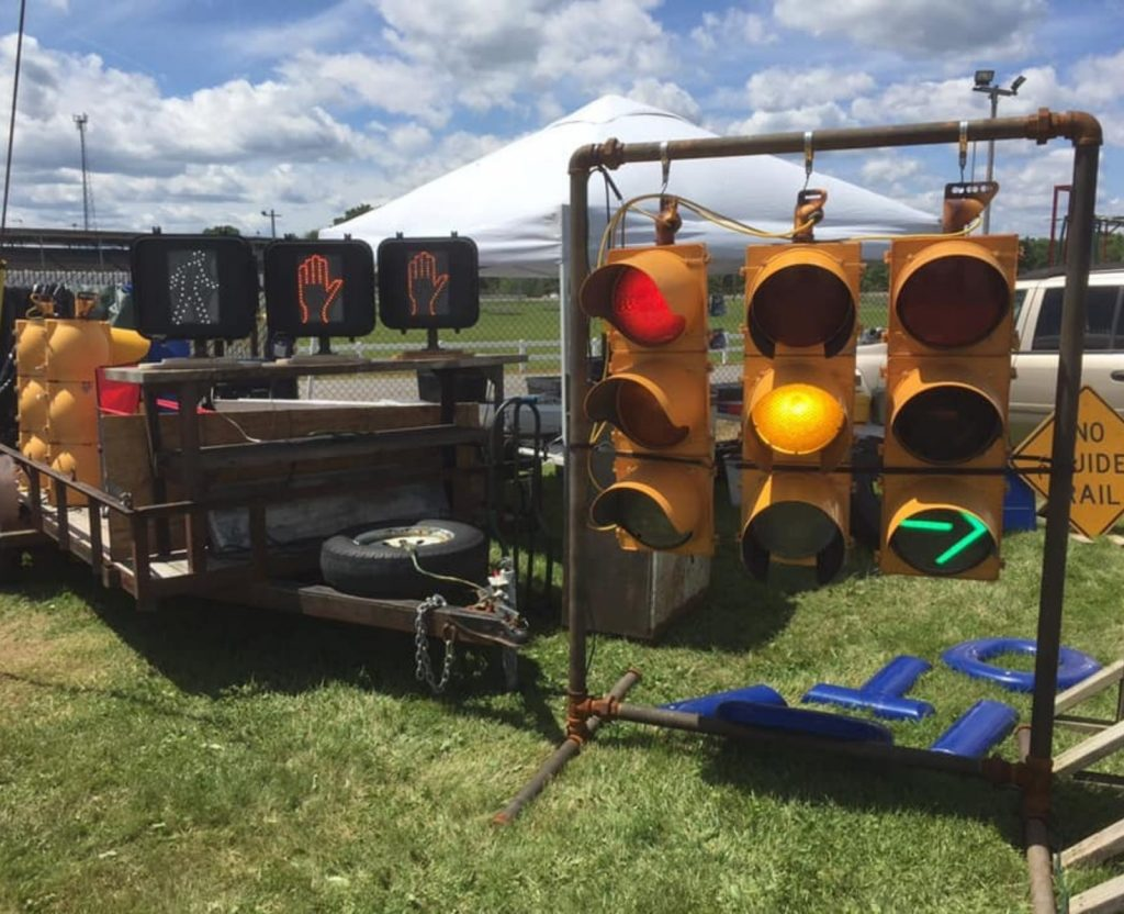Outside display of resold traffic lights and signals.